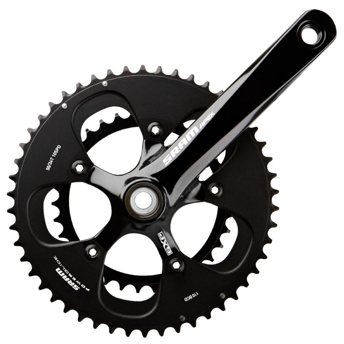 Sram Apex Compact Chainset With White Decals - 50-34t 175mm Black