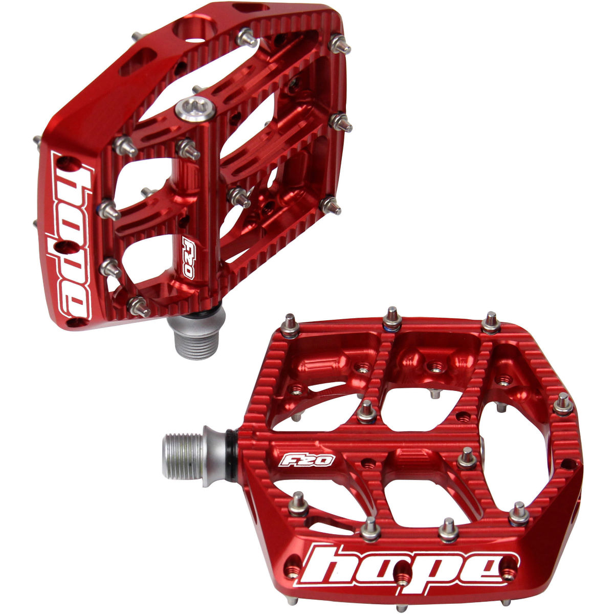 Hope F20 Pedals - One Size Red  Flat Pedals