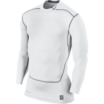 8f814f736 View in 360° 360° Play video. 1. /. 2. White/Cool Gray; White/Cool Gray.  The Nike Pro Combat Core Compression Shirt: Contoured comfort