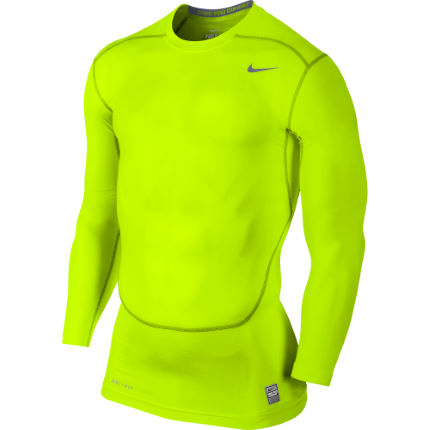 9dfec8edd View in 360° 360° Play video. 1. /. 2. Volt/Cool Grey; Nike Pro Combat Core Compression  Long Sleeve 2.0 Top