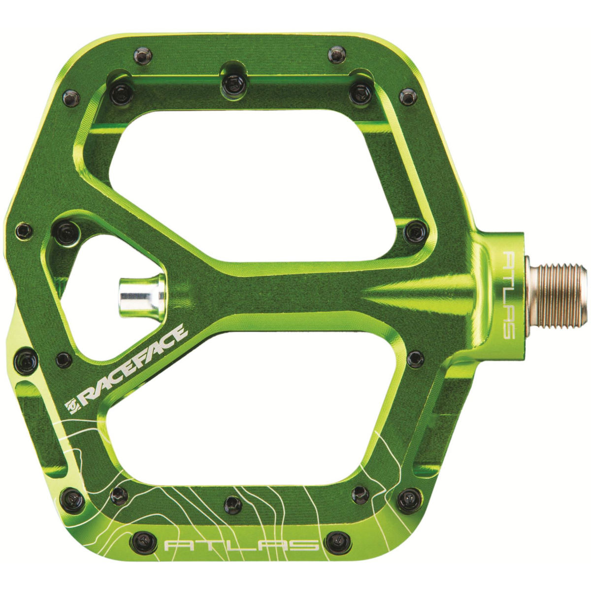 Race Face Atlas Flat Pedals - One Size Green  Flat Pedals