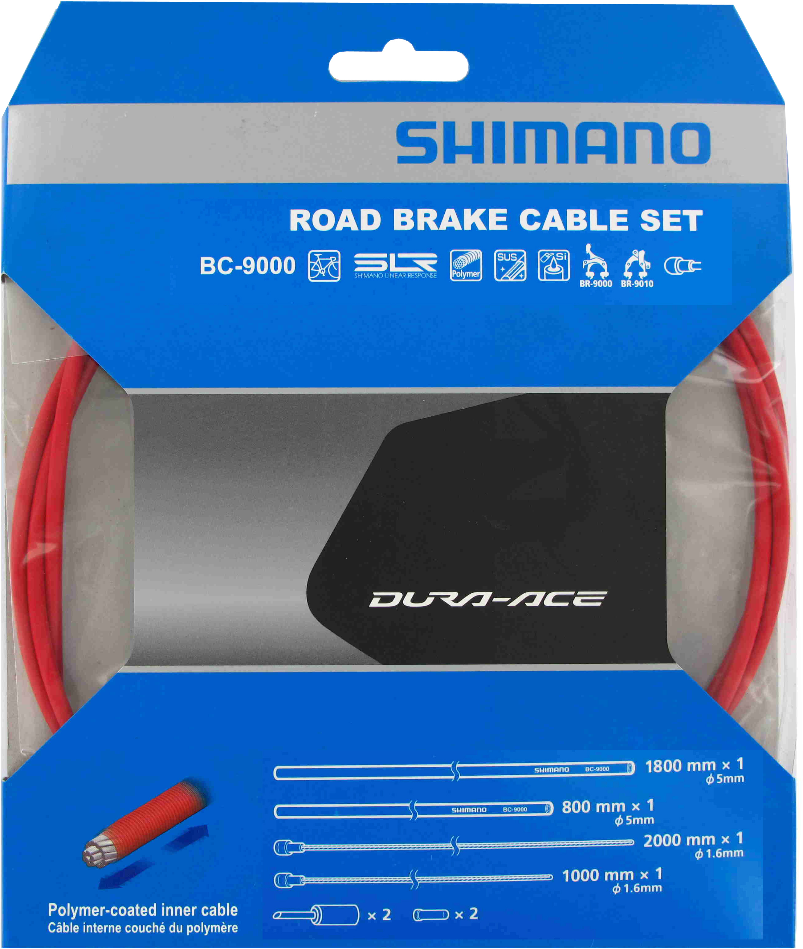 Shimano Dura-Ace 9000 Polymer-Coated Brake Cable Set Red