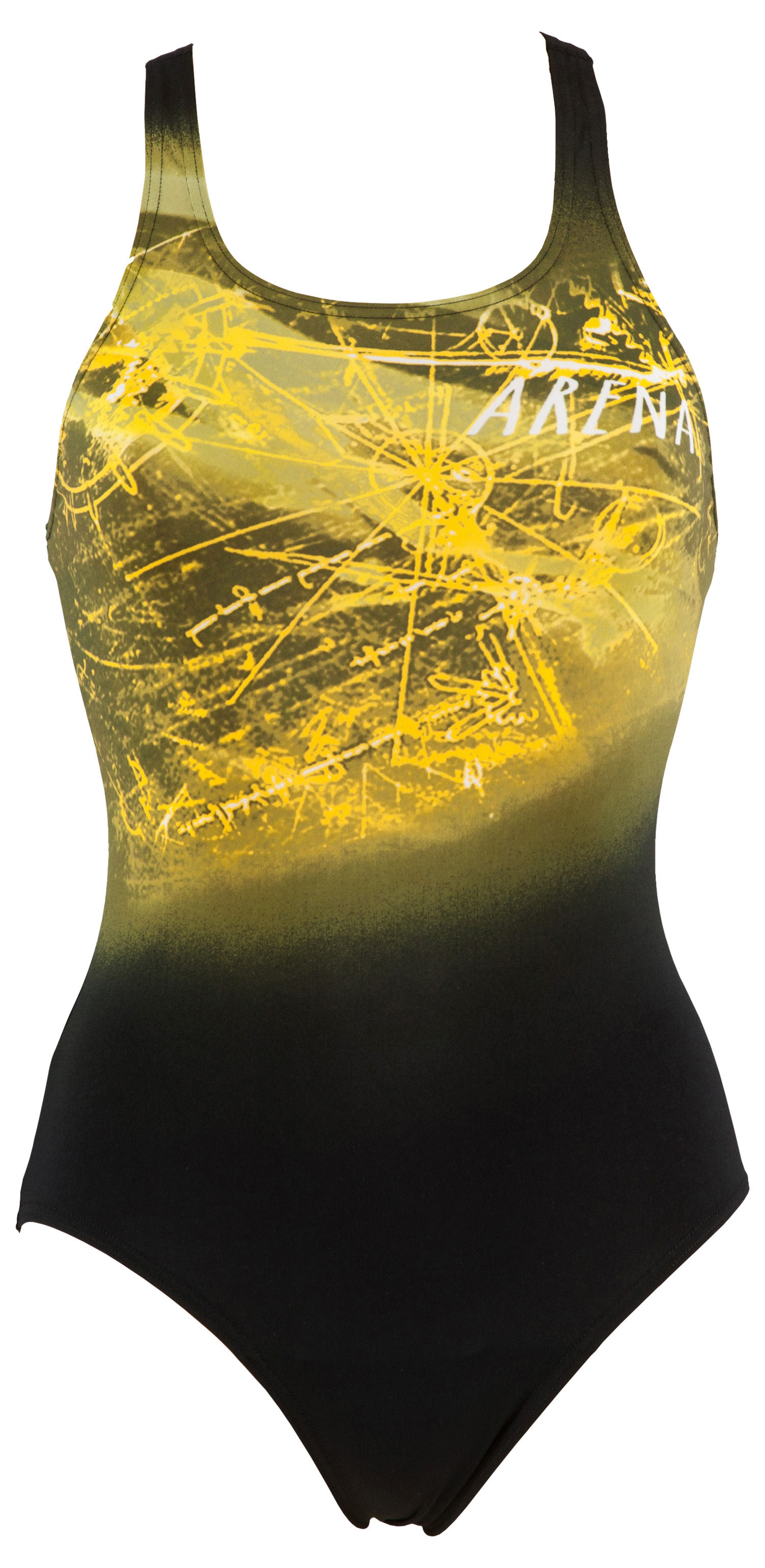 42 arena Womens Drafty One Piece Pro Back Swimming Swimsuit Costume Yellow
