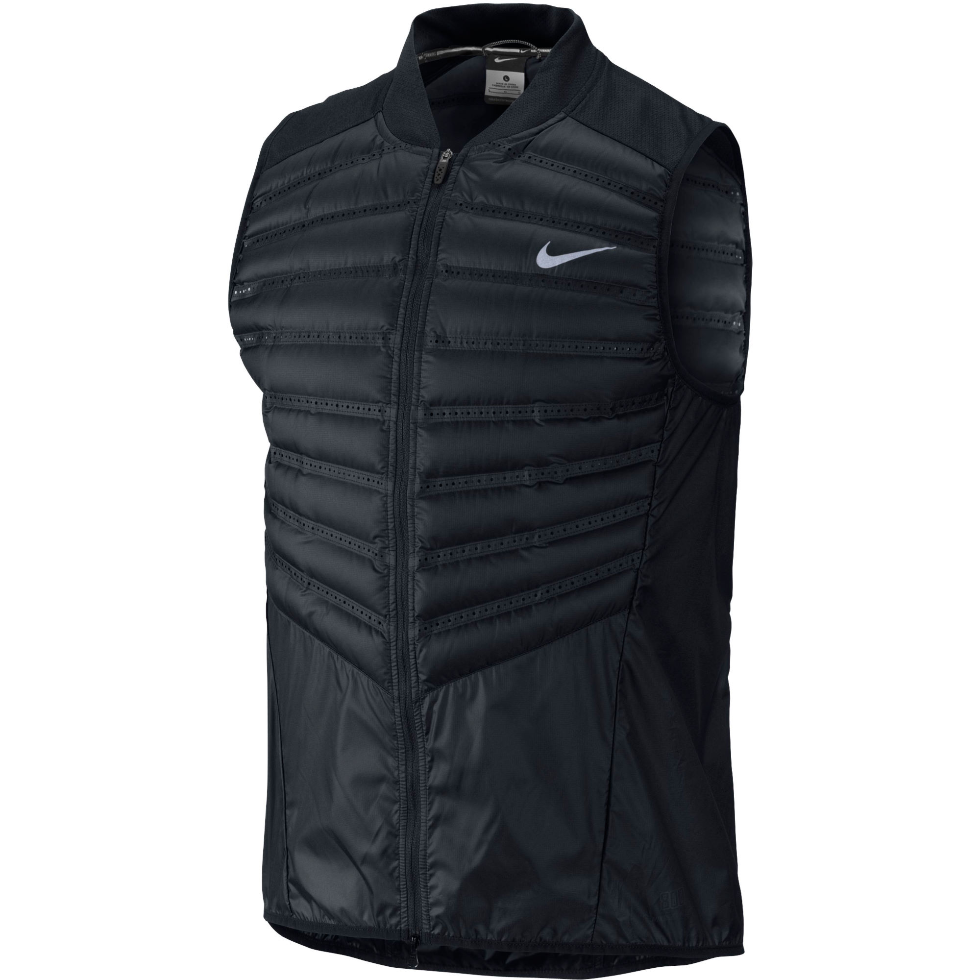The Nike AeroLoft Men's Golf Gilet pairs the breathable warmth of Nike AeroLoft with a soft, quiet outer shell to help you stay focused on your game. A water-repellent finish .