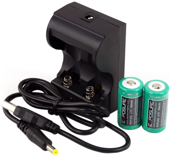 Exposure USB Charger with 2xRCR123 Batteries | Computer Battery and Charger