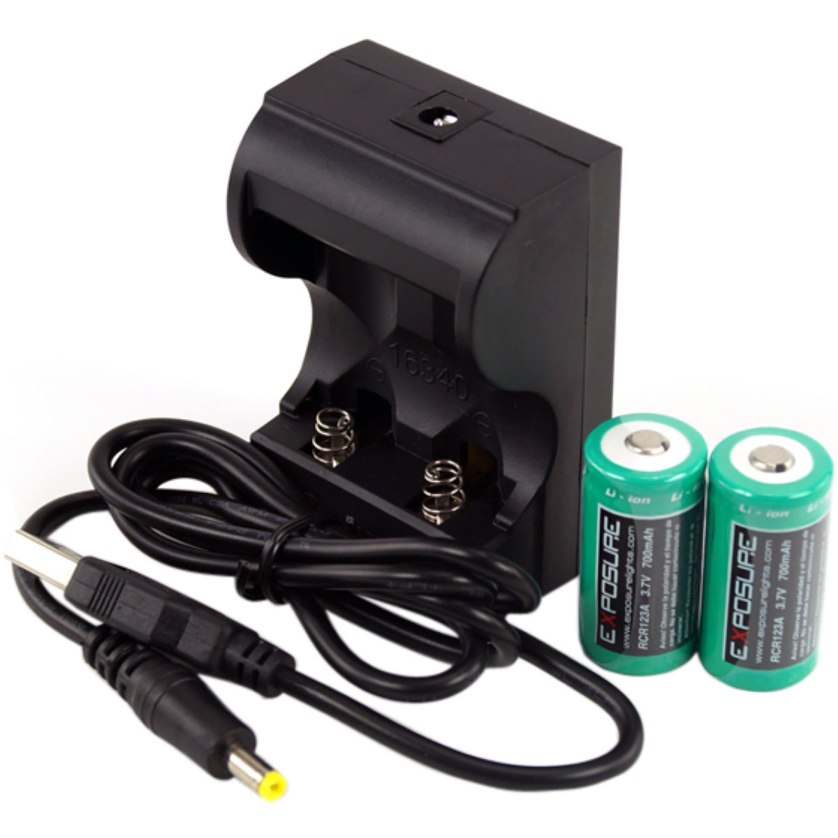 Exposure Exposure USB Charger with 2xRCR123 Batteries   Light Spares