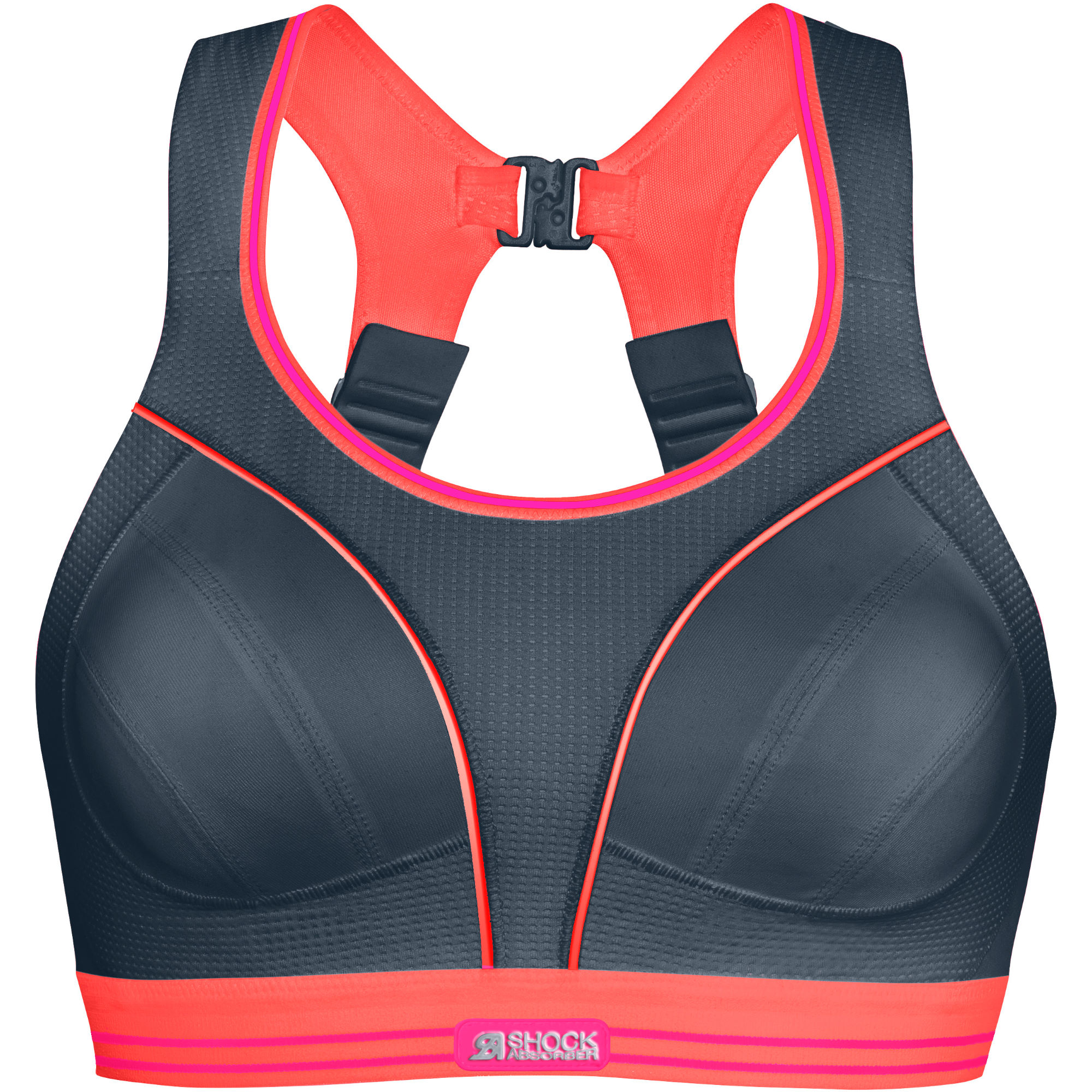 Wiggle | Shock Absorber Ultimate Run Bra (Grey/Coral) | Sports Bras & Underwear