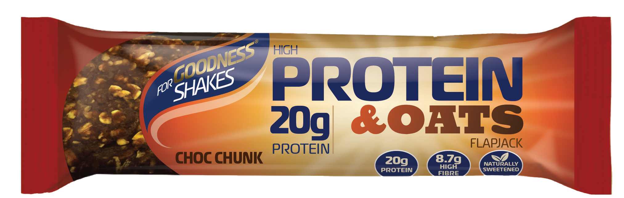 For Goodness Shakes - Protein and Havre Flapjack (12 x 75 g) | Proteinbar og -pulver