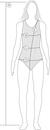 Arena Womens Swimwear Measurement Diagram