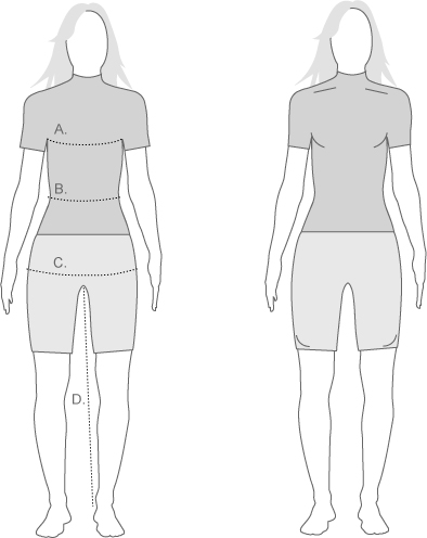 Sugoi Womens Pro Fit and measurement diagram